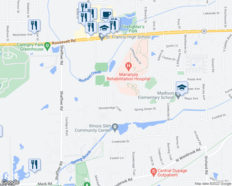 map of restaurants, bars, coffee shops, grocery stores, and more near 1235 Yorkshire Woods Court in Wheaton