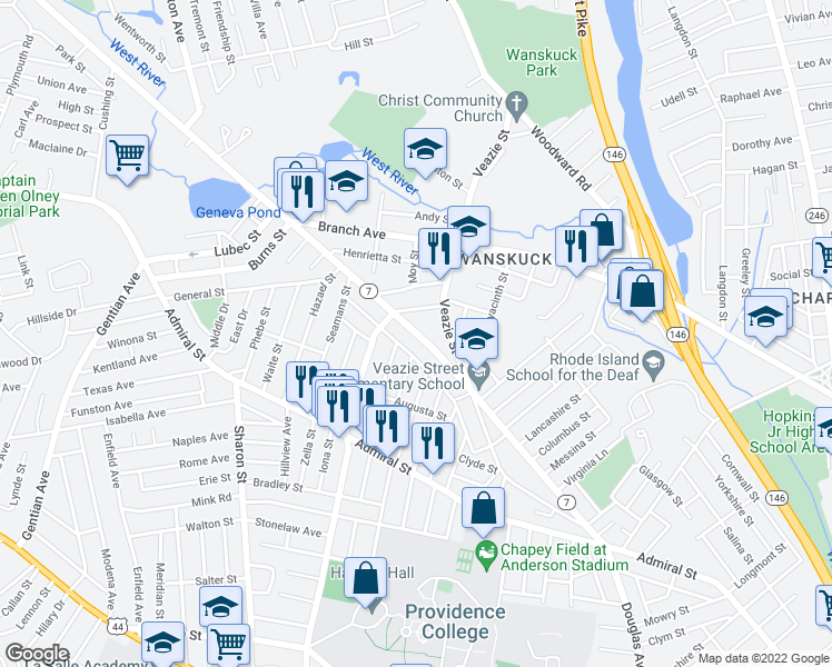 map of restaurants, bars, coffee shops, grocery stores, and more near 130 Sunbury Street in Providence