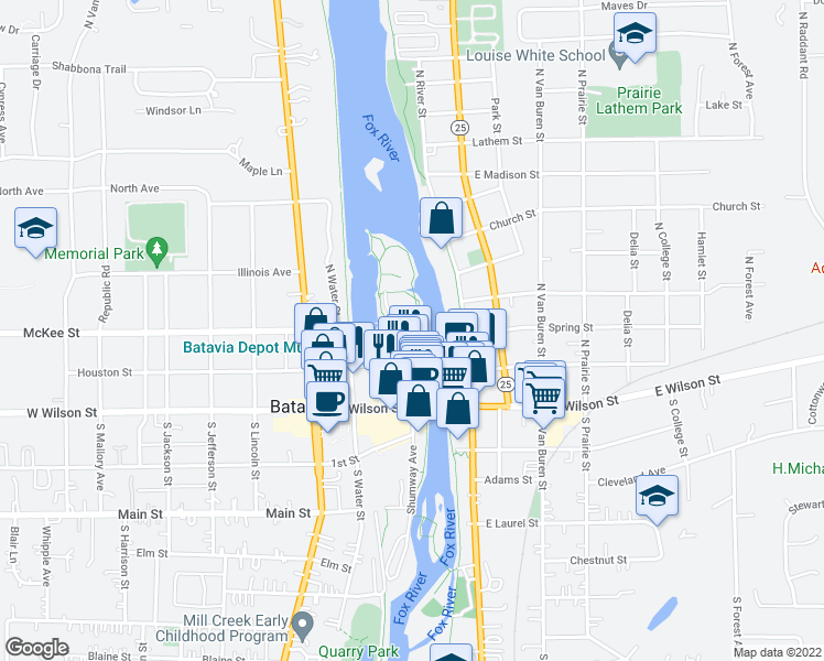map of restaurants, bars, coffee shops, grocery stores, and more near 100 North Island Avenue in Batavia