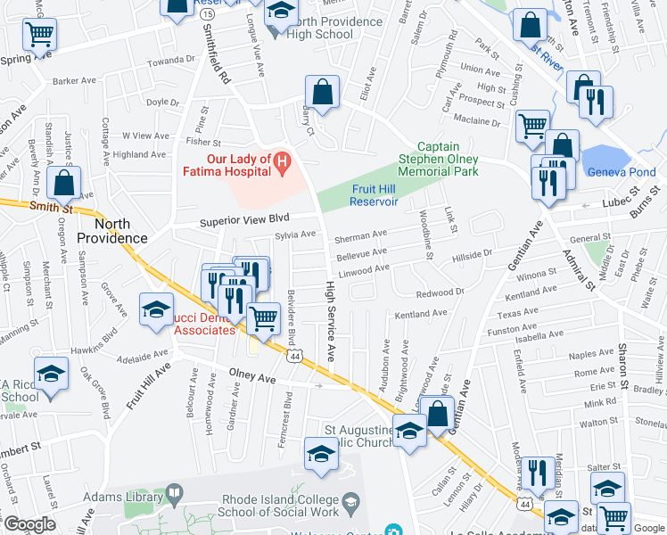 map of restaurants, bars, coffee shops, grocery stores, and more near 99 High Service Avenue in North Providence