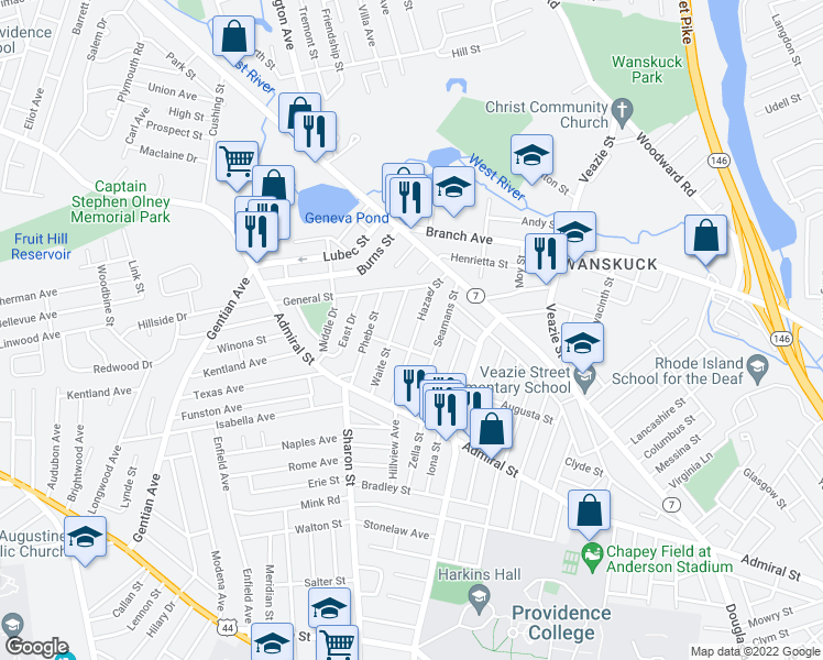 map of restaurants, bars, coffee shops, grocery stores, and more near 80 Hazael Street in Providence