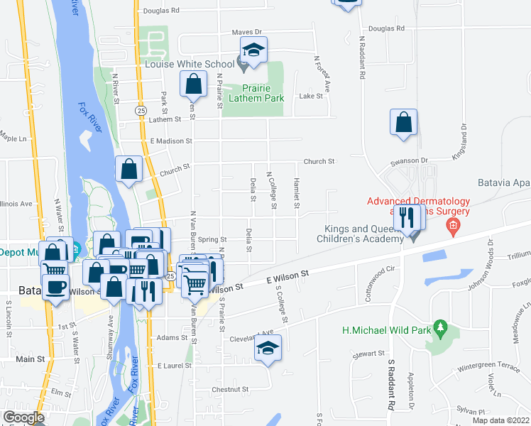 map of restaurants, bars, coffee shops, grocery stores, and more near 519 East Franklin Street in Batavia