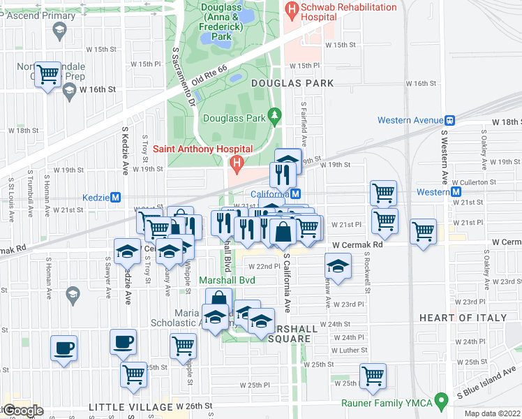 map of restaurants, bars, coffee shops, grocery stores, and more near 2843 West 21st Street in Chicago