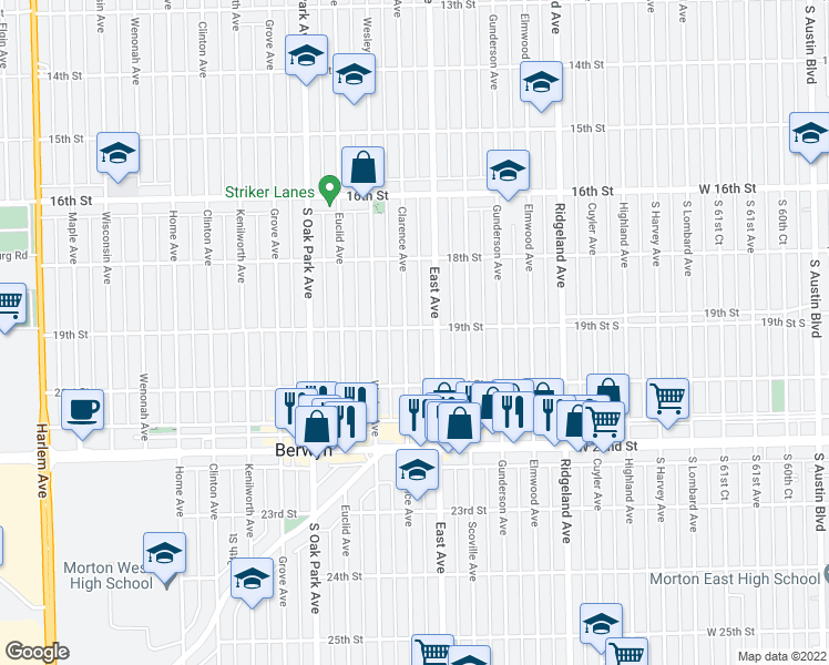 map of restaurants, bars, coffee shops, grocery stores, and more near 6618 19th Street in Berwyn
