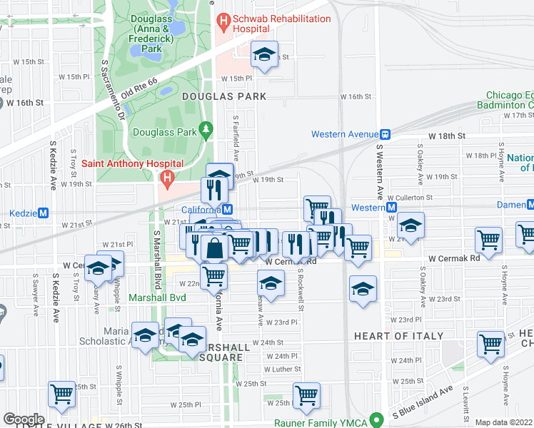 map of restaurants, bars, coffee shops, grocery stores, and more near 2648 West 21st Street in Chicago