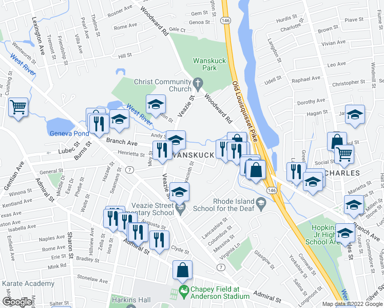 map of restaurants, bars, coffee shops, grocery stores, and more near 10 Burleigh Street in Providence