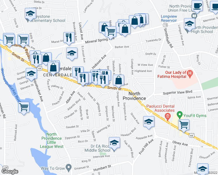 map of restaurants, bars, coffee shops, grocery stores, and more near Smith Street in North Providence