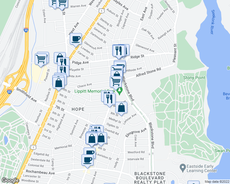 map of restaurants, bars, coffee shops, grocery stores, and more near Hope St & 11th St in Providence