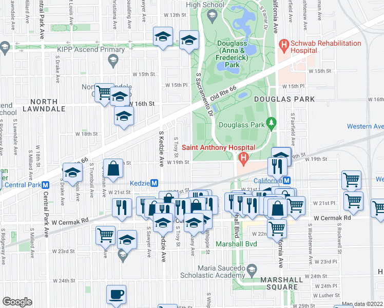 map of restaurants, bars, coffee shops, grocery stores, and more near 1845 South Troy Street in Chicago