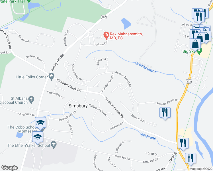 map of restaurants, bars, coffee shops, grocery stores, and more near Powder Forest Lane in Simsbury