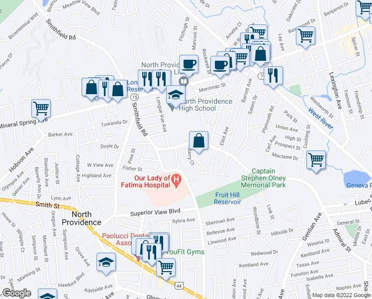 map of restaurants, bars, coffee shops, grocery stores, and more near 300 Smithfield Road in North Providence