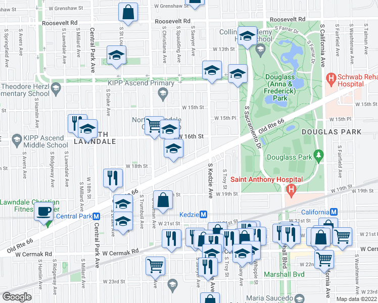 map of restaurants, bars, coffee shops, grocery stores, and more near 1630 South Sawyer Avenue in Chicago