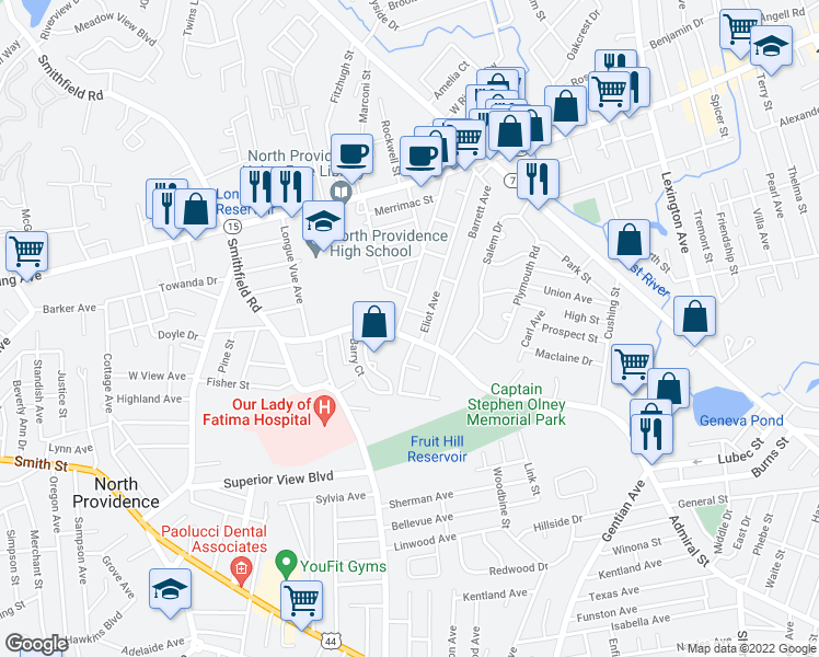 map of restaurants, bars, coffee shops, grocery stores, and more near 243 Smithfield Road in North Providence