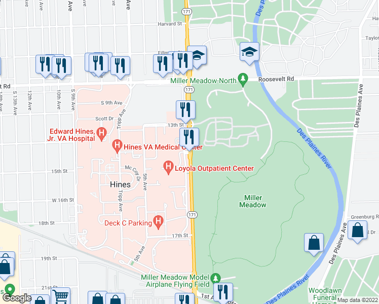 map of restaurants, bars, coffee shops, grocery stores, and more near 2160 South 1st Avenue in Maywood