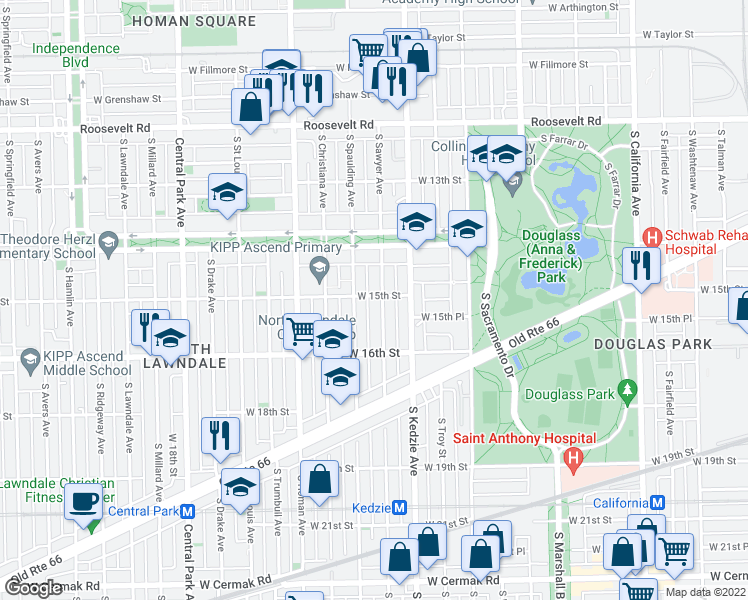 map of restaurants, bars, coffee shops, grocery stores, and more near 1500 S Sawyer Ave in Chicago