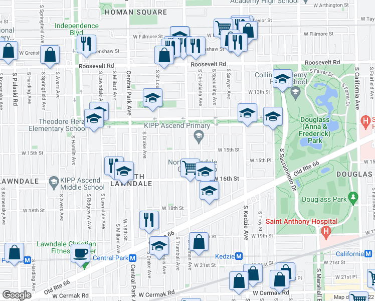 map of restaurants, bars, coffee shops, grocery stores, and more near S Homan Ave & W 15th St in Chicago