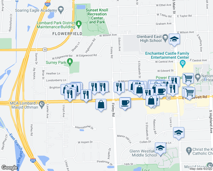 map of restaurants, bars, coffee shops, grocery stores, and more near 1250 Old Bond Court in Glen Ellyn