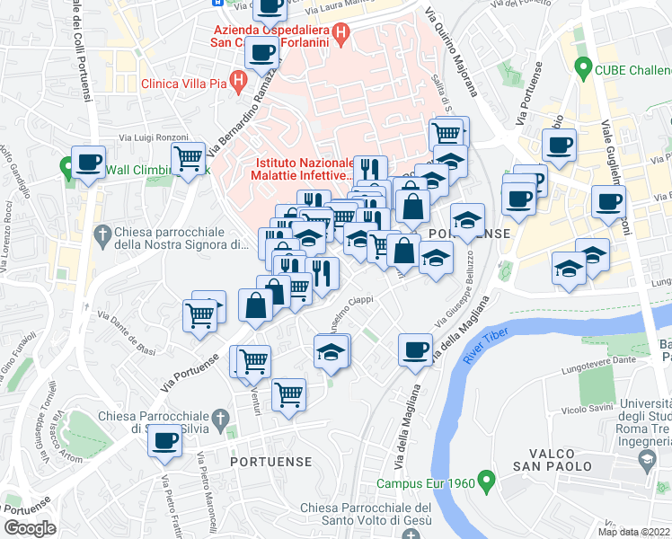 map of restaurants, bars, coffee shops, grocery stores, and more near 59 Via di Vigna Jacobini in Rome