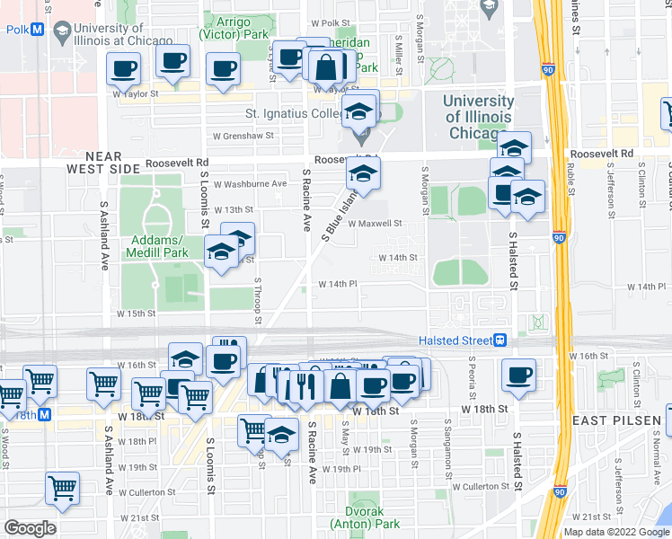 map of restaurants, bars, coffee shops, grocery stores, and more near 1401 South Blue Island Avenue in Chicago