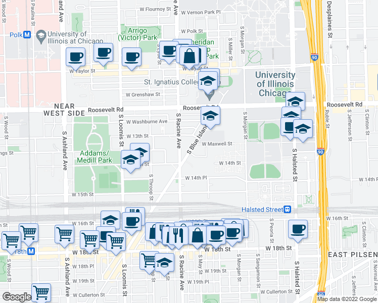 map of restaurants, bars, coffee shops, grocery stores, and more near 1355 South Blue Island Avenue in Chicago