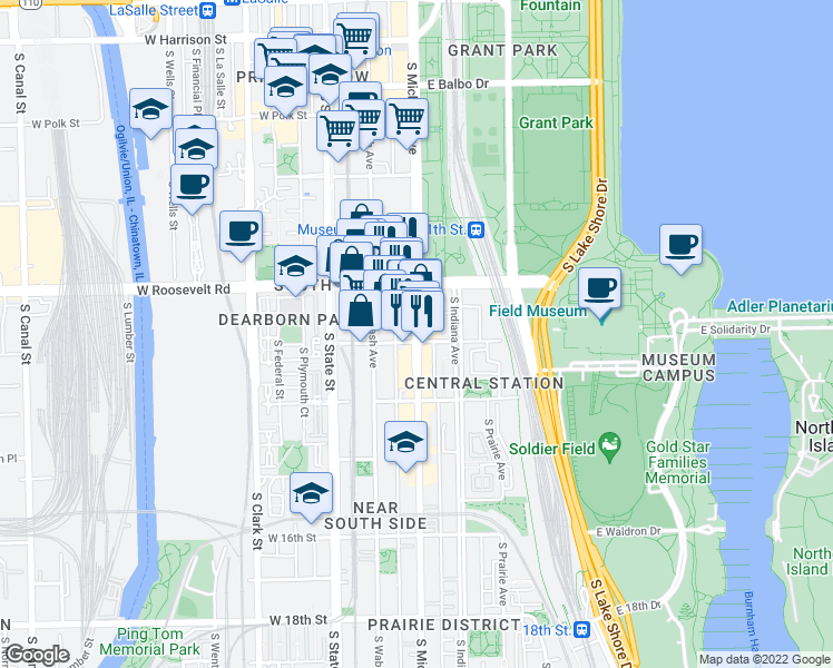map of restaurants, bars, coffee shops, grocery stores, and more near 1258 South Michigan Avenue in Chicago