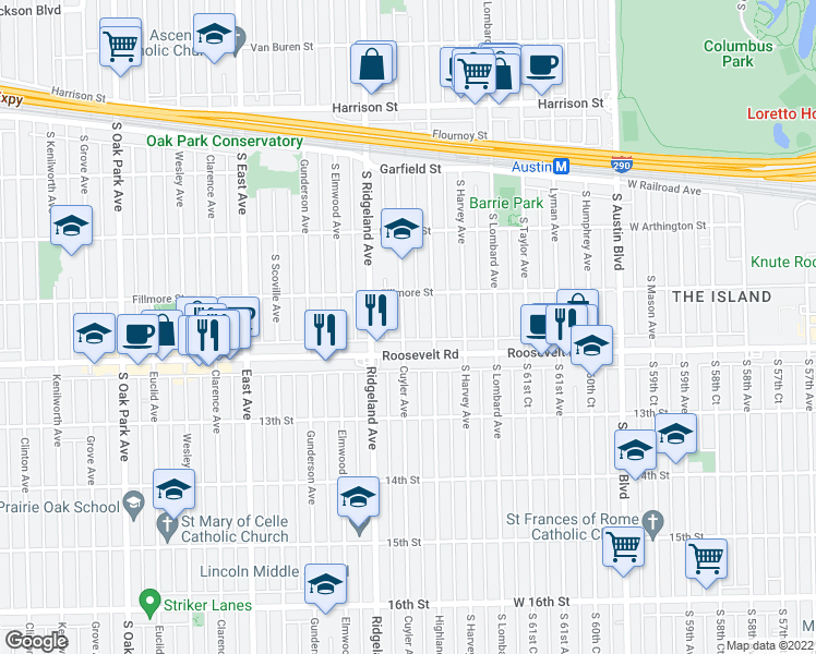 map of restaurants, bars, coffee shops, grocery stores, and more near 1176 South Cuyler Avenue in Oak Park