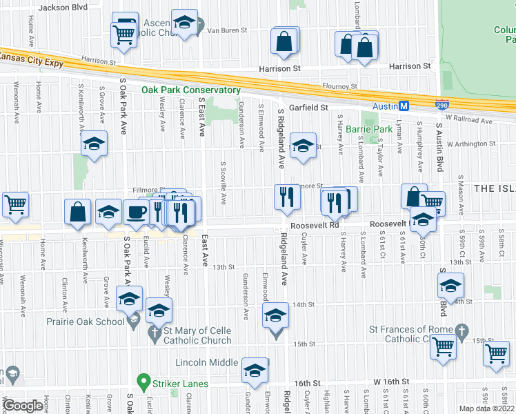 map of restaurants, bars, coffee shops, grocery stores, and more near 1173 South Elmwood Avenue in Oak Park