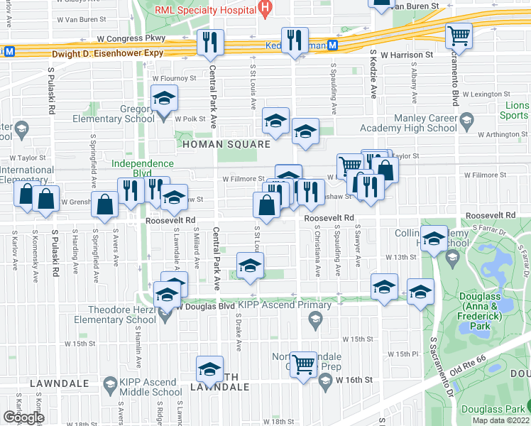 map of restaurants, bars, coffee shops, grocery stores, and more near 3440 West Roosevelt Road in Chicago