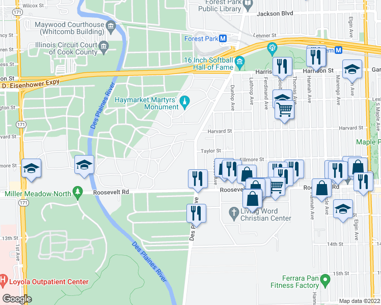 map of restaurants, bars, coffee shops, grocery stores, and more near 1037 Desplaines Avenue in Forest Park