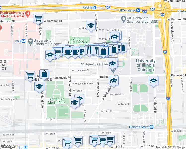 map of restaurants, bars, coffee shops, grocery stores, and more near 1222 West Roosevelt Road in Chicago