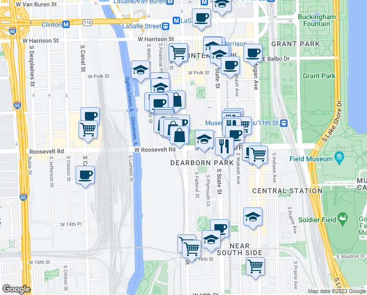 map of restaurants, bars, coffee shops, grocery stores, and more near W Roosevelt Rd & S Clark St in Chicago