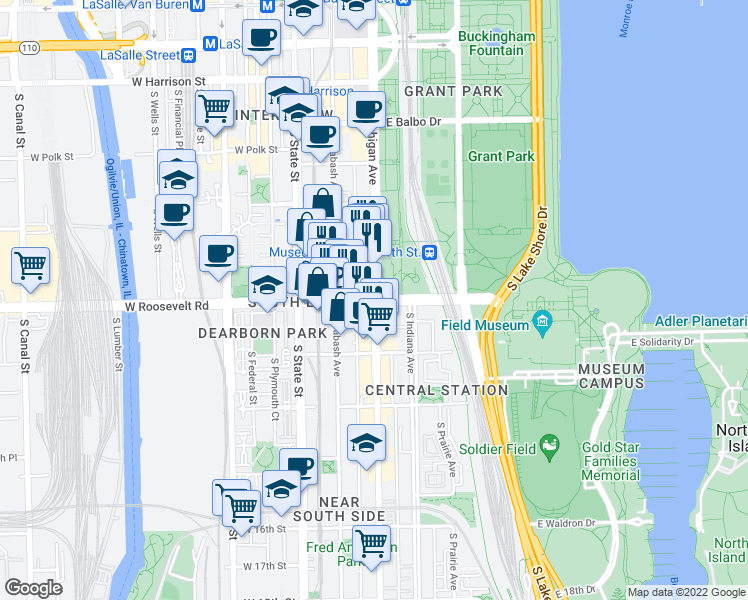 map of restaurants, bars, coffee shops, grocery stores, and more near South Michigan Avenue & East Roosevelt Road in Chicago