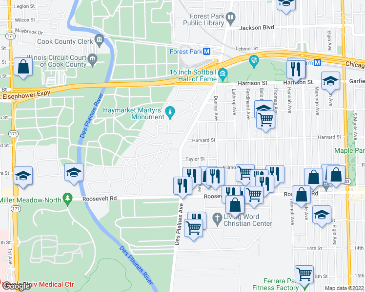 map of restaurants, bars, coffee shops, grocery stores, and more near 207 Des Plaines Avenue in Forest Park