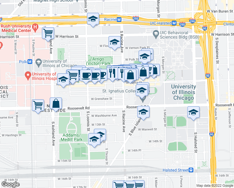 map of restaurants, bars, coffee shops, grocery stores, and more near 1039 South Lytle Street in Chicago