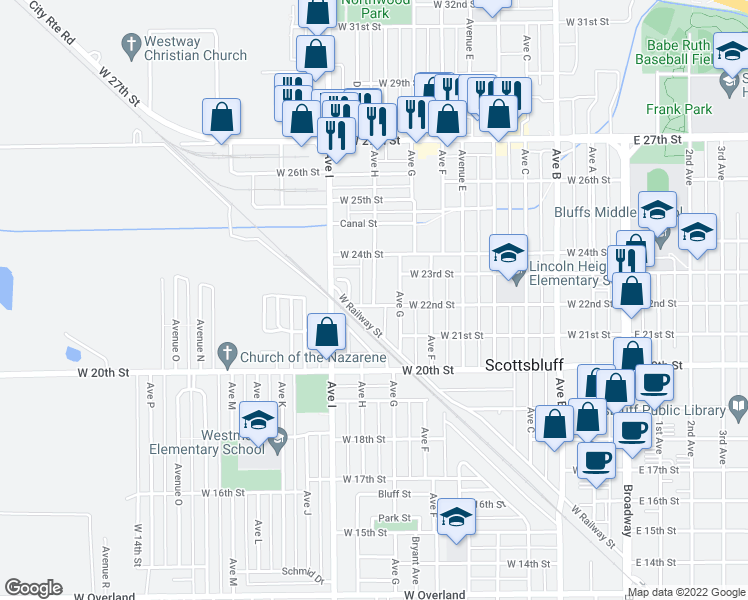 map of restaurants, bars, coffee shops, grocery stores, and more near Avenue H in Scottsbluff