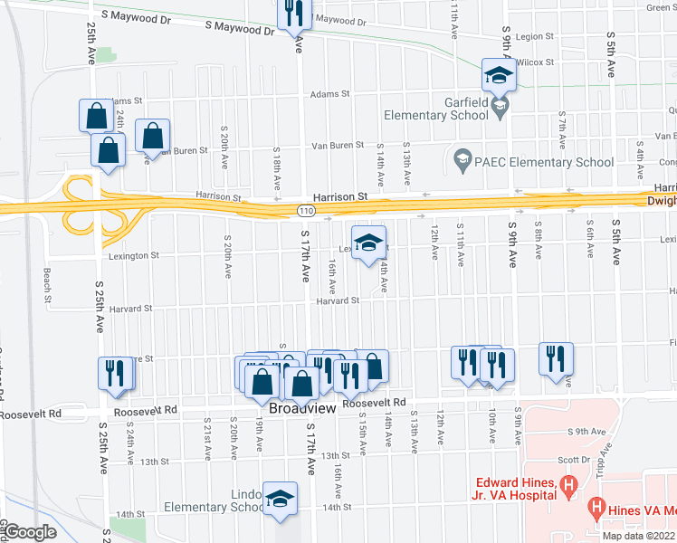 map of restaurants, bars, coffee shops, grocery stores, and more near 1921 16th Avenue in Broadview