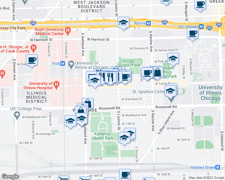 map of restaurants, bars, coffee shops, grocery stores, and more near 1418 West Fillmore Street in Chicago