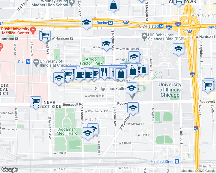 map of restaurants, bars, coffee shops, grocery stores, and more near 1017 South Lytle Street in Chicago
