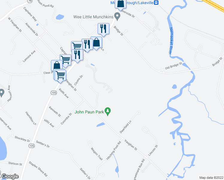 map of restaurants, bars, coffee shops, grocery stores, and more near 1 Mary's Way in Lakeville