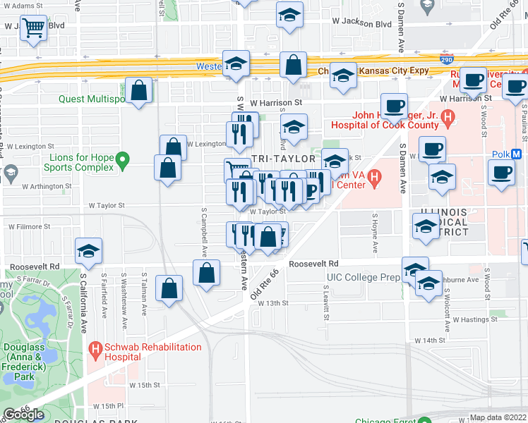 map of restaurants, bars, coffee shops, grocery stores, and more near West Taylor Street & South Claremont Avenue in Chicago