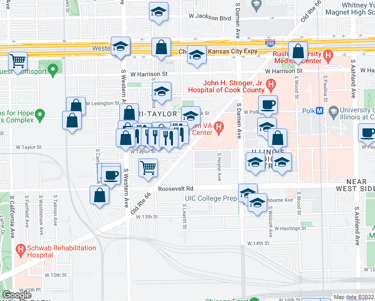 map of restaurants, bars, coffee shops, grocery stores, and more near West Ogden Avenue & West Taylor Street in Chicago