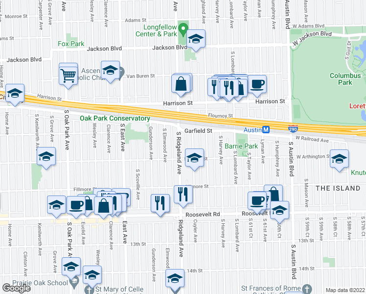 map of restaurants, bars, coffee shops, grocery stores, and more near 1026 South Ridgeland Avenue in Oak Park