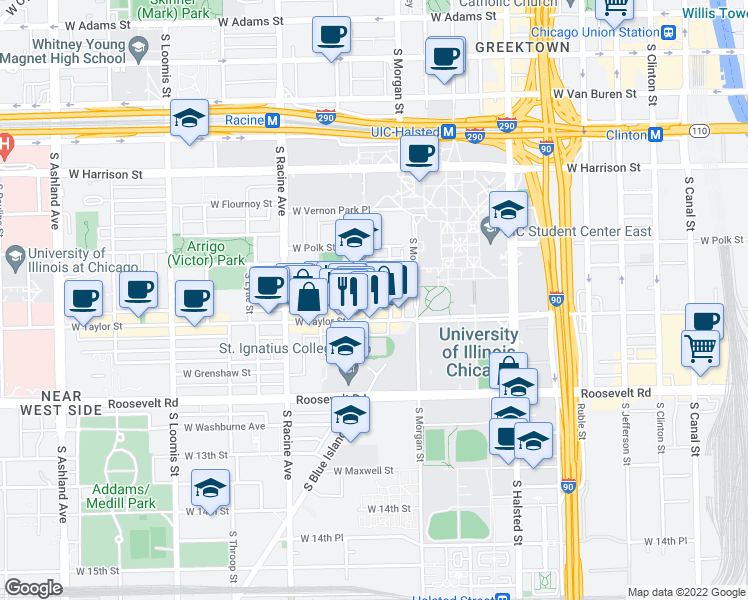 map of restaurants, bars, coffee shops, grocery stores, and more near 919 South Carpenter Street in Chicago