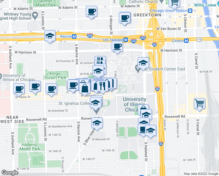 map of restaurants, bars, coffee shops, grocery stores, and more near 905 S Miller St in Chicago