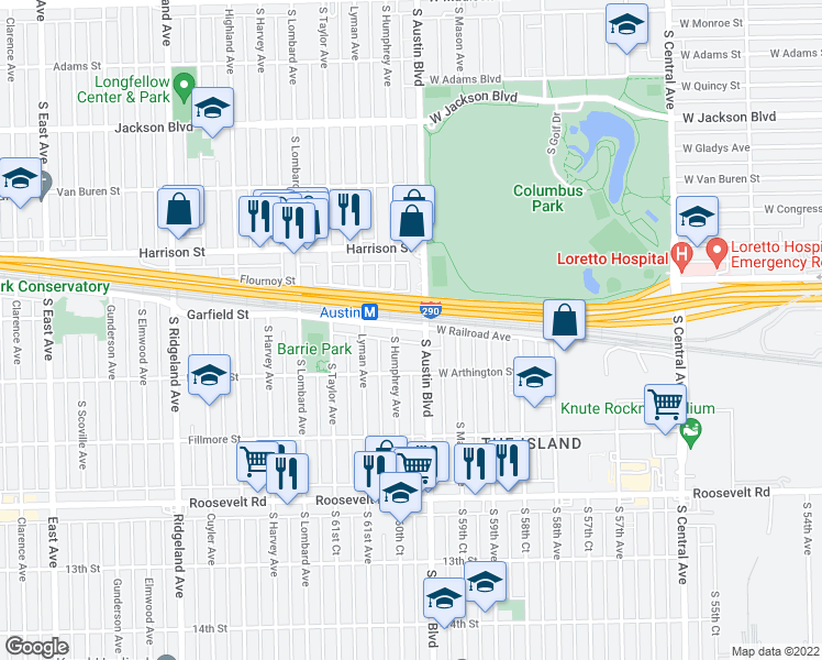 map of restaurants, bars, coffee shops, grocery stores, and more near 9 Garfield Street in Oak Park