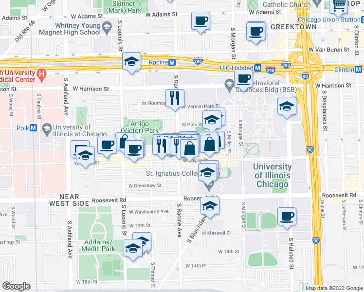 map of restaurants, bars, coffee shops, grocery stores, and more near 847 South Racine Avenue in Chicago
