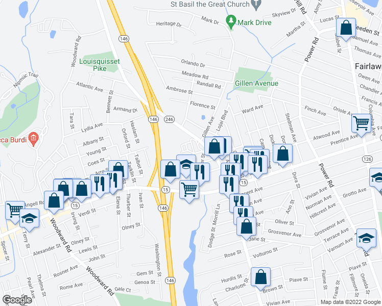 map of restaurants, bars, coffee shops, grocery stores, and more near 1 Santini Street in North Providence