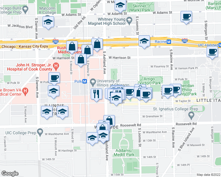 map of restaurants, bars, coffee shops, grocery stores, and more near 901 South Ashland Avenue in Chicago