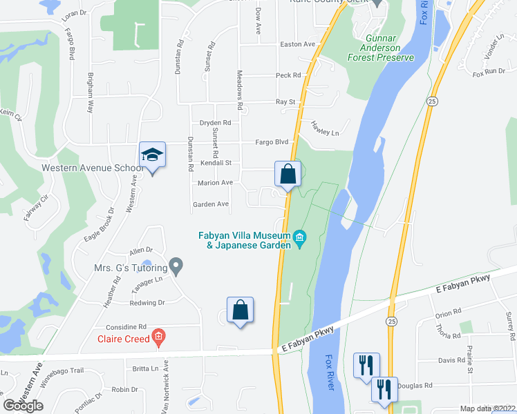 map of restaurants, bars, coffee shops, grocery stores, and more near 608 Riverbank Dr in Geneva