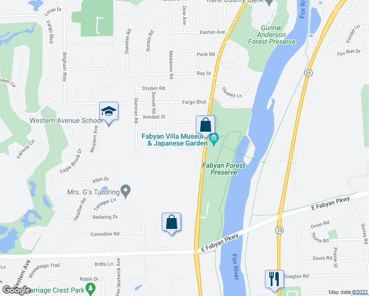 map of restaurants, bars, coffee shops, grocery stores, and more near 602 Riverbank Dr in Geneva